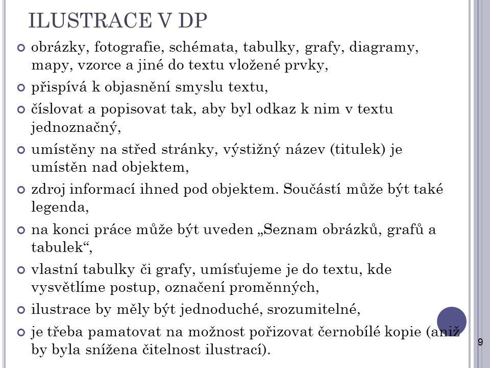 ILUSTRACE V DP obrázky, fotografie, schémata, tabulky, grafy, diagramy, mapy, vzorce a jiné do textu vložené prvky, přispívá k objasnění smyslu textu,