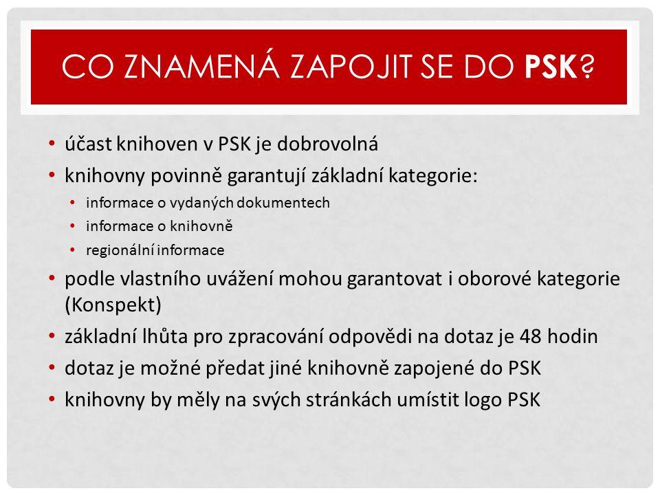 PTEJTE SE KNIHOVNY V ČÍSLECH …  932 000 návštěvníků stránek www.ptejteseknihovny.cz v roce 2014, stabilně patří mezi nejnavštěvovanější stránky NK ČRwww.ptejteseknihovny.cz  průměrně je ročně přes formulář zasláno téměř 3 500 dotazů  od roku 2004 zadáno prostřednictvím PSK 38 875 dotazů (11.