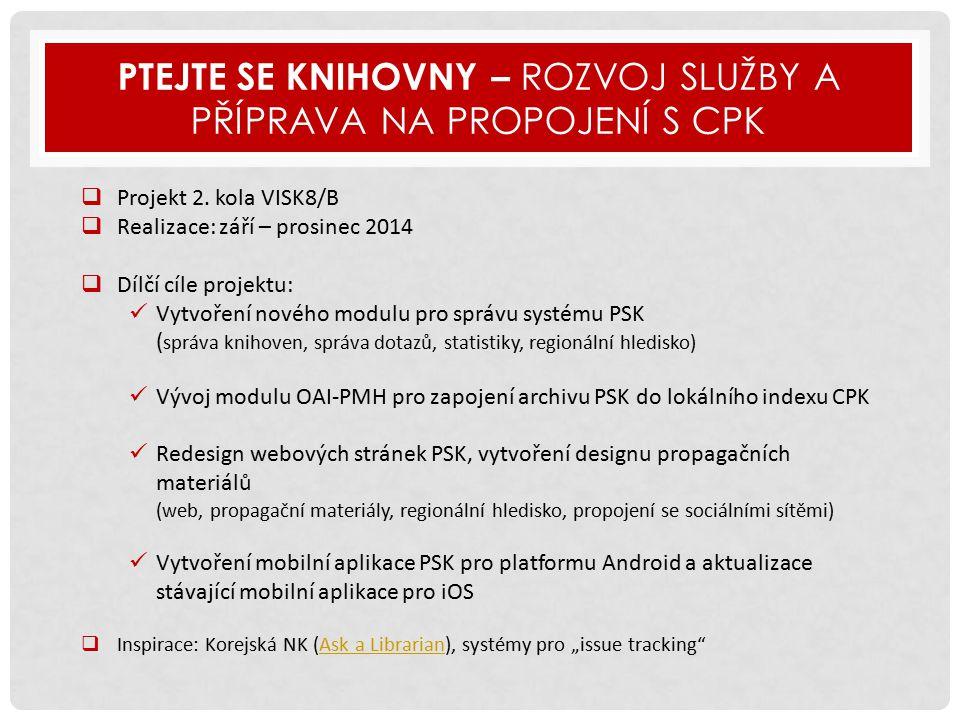 PTEJTE SE KNIHOVNY – ROZVOJ SLUŽBY A PŘÍPRAVA NA PROPOJENÍ S CPK  Projekt 2.