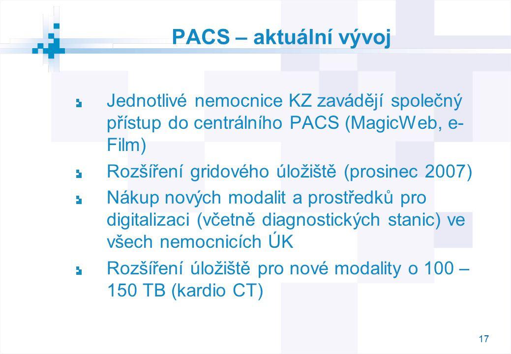 17 PACS – aktuální vývoj Jednotlivé nemocnice KZ zavádějí společný přístup do centrálního PACS (MagicWeb, e- Film) Rozšíření gridového úložiště (prosinec 2007) Nákup nových modalit a prostředků pro digitalizaci (včetně diagnostických stanic) ve všech nemocnicích ÚK Rozšíření úložiště pro nové modality o 100 – 150 TB (kardio CT)