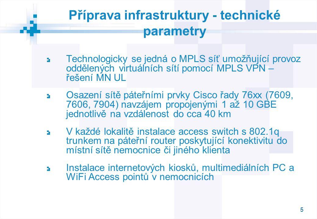 5 Příprava infrastruktury - technické parametry Technologicky se jedná o MPLS síť umožňující provoz oddělených virtuálních sítí pomocí MPLS VPN – řešení MN UL Osazení sítě páteřními prvky Cisco řady 76xx (7609, 7606, 7904) navzájem propojenými 1 až 10 GBE jednotlivě na vzdálenost do cca 40 km V každé lokalitě instalace access switch s 802.1q trunkem na páteřní router poskytující konektivitu do místní sítě nemocnice či jiného klienta Instalace internetových kiosků, multimediálních PC a WiFi Access pointů v nemocnicích