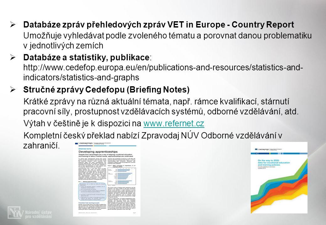  Databáze zpráv přehledových zpráv VET in Europe - Country Report Umožňuje vyhledávat podle zvoleného tématu a porovnat danou problematiku v jednotlivých zemích  Databáze a statistiky, publikace: http://www.cedefop.europa.eu/en/publications-and-resources/statistics-and- indicators/statistics-and-graphs  Stručné zprávy Cedefopu (Briefing Notes) Krátké zprávy na různá aktuální témata, např.