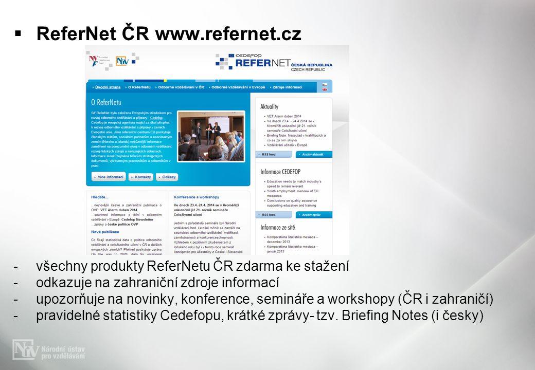  ReferNet ČR www.refernet.cz -všechny produkty ReferNetu ČR zdarma ke stažení -odkazuje na zahraniční zdroje informací -upozorňuje na novinky, konference, semináře a workshopy (ČR i zahraničí) -pravidelné statistiky Cedefopu, krátké zprávy- tzv.