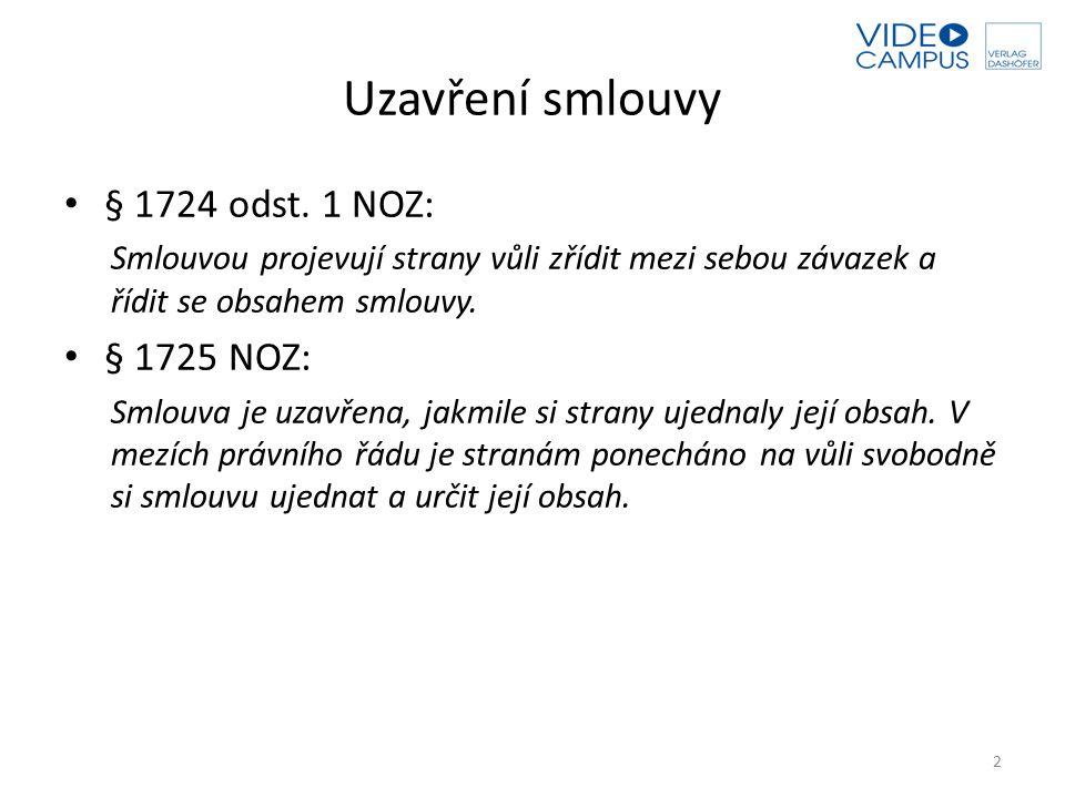 Uzavření smlouvy § 1724 odst. 1 NOZ: Smlouvou projevují strany vůli zřídit mezi sebou závazek a řídit se obsahem smlouvy. § 1725 NOZ: Smlouva je uzavř