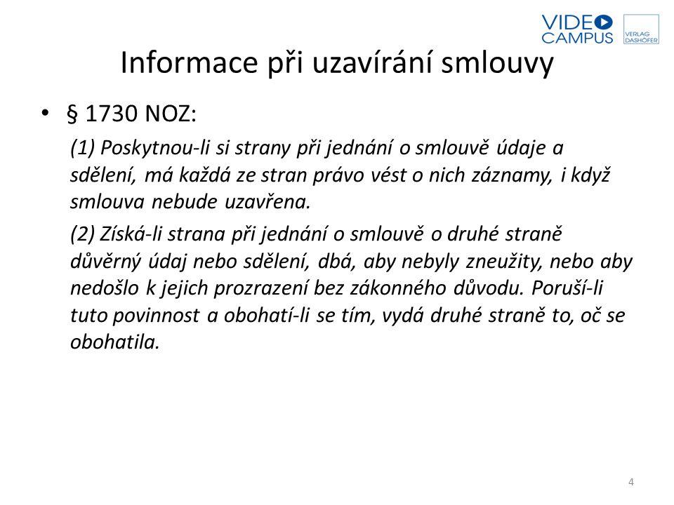 Informace při uzavírání smlouvy § 1730 NOZ: (1) Poskytnou-li si strany při jednání o smlouvě údaje a sdělení, má každá ze stran právo vést o nich zázn