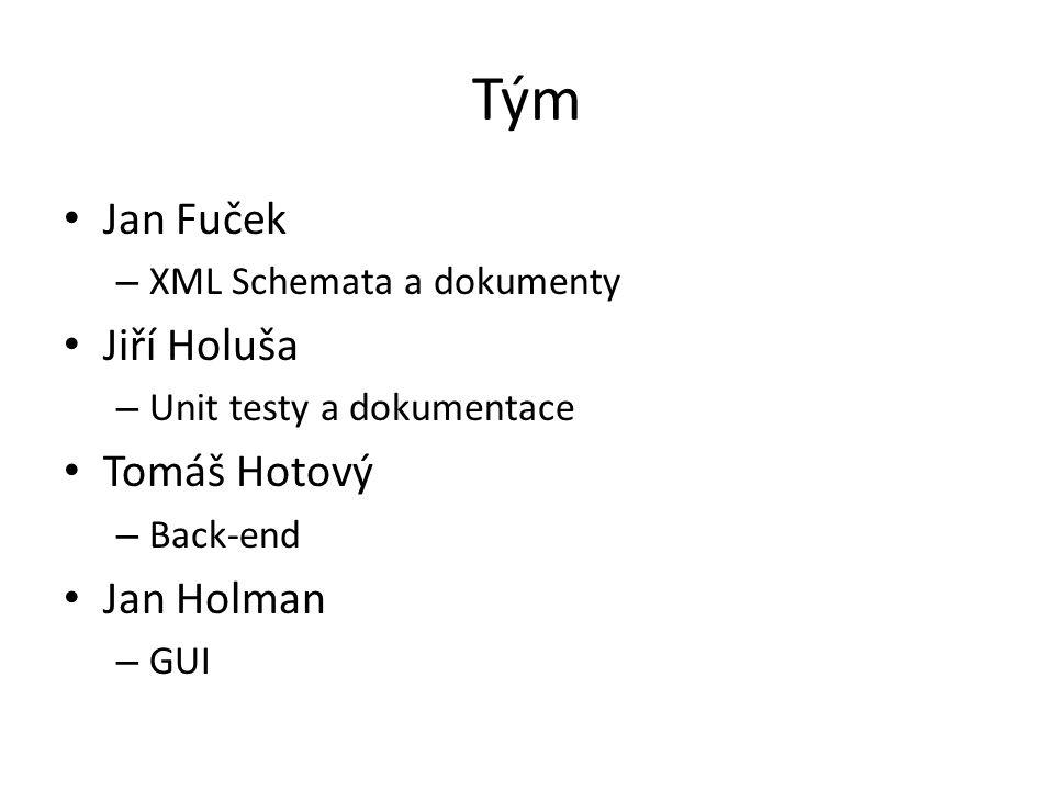 Tým Jan Fuček – XML Schemata a dokumenty Jiří Holuša – Unit testy a dokumentace Tomáš Hotový – Back-end Jan Holman – GUI