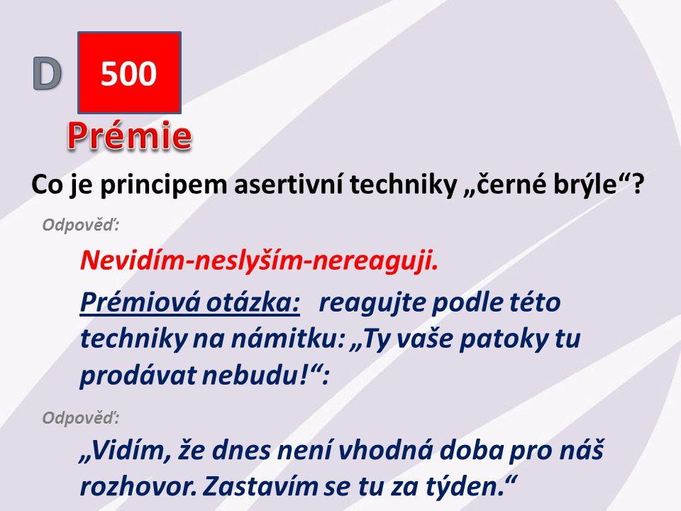 """500 Co je principem asertivní techniky """"černé brýle ."""