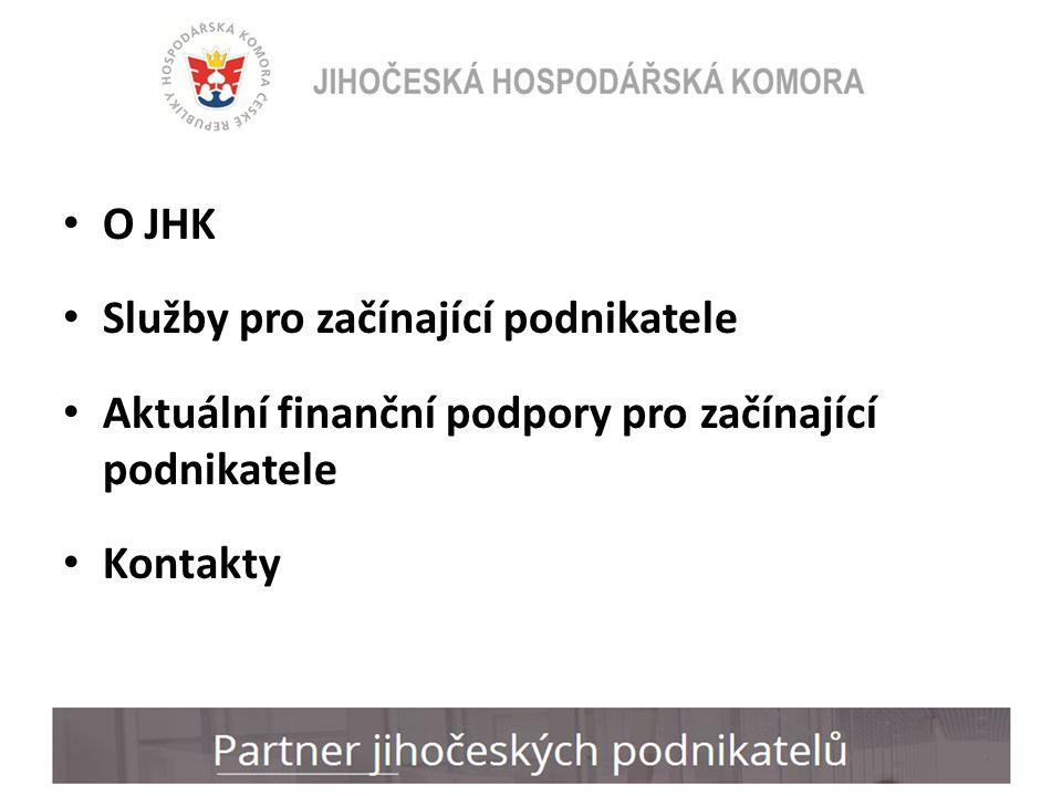 O JHK Služby pro začínající podnikatele Aktuální finanční podpory pro začínající podnikatele Kontakty
