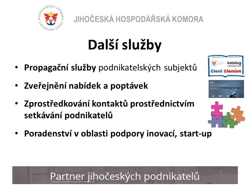Další služby Propagační služby podnikatelských subjektů Zveřejnění nabídek a poptávek Zprostředkování kontaktů prostřednictvím setkávání podnikatelů Poradenství v oblasti podpory inovací, start-up