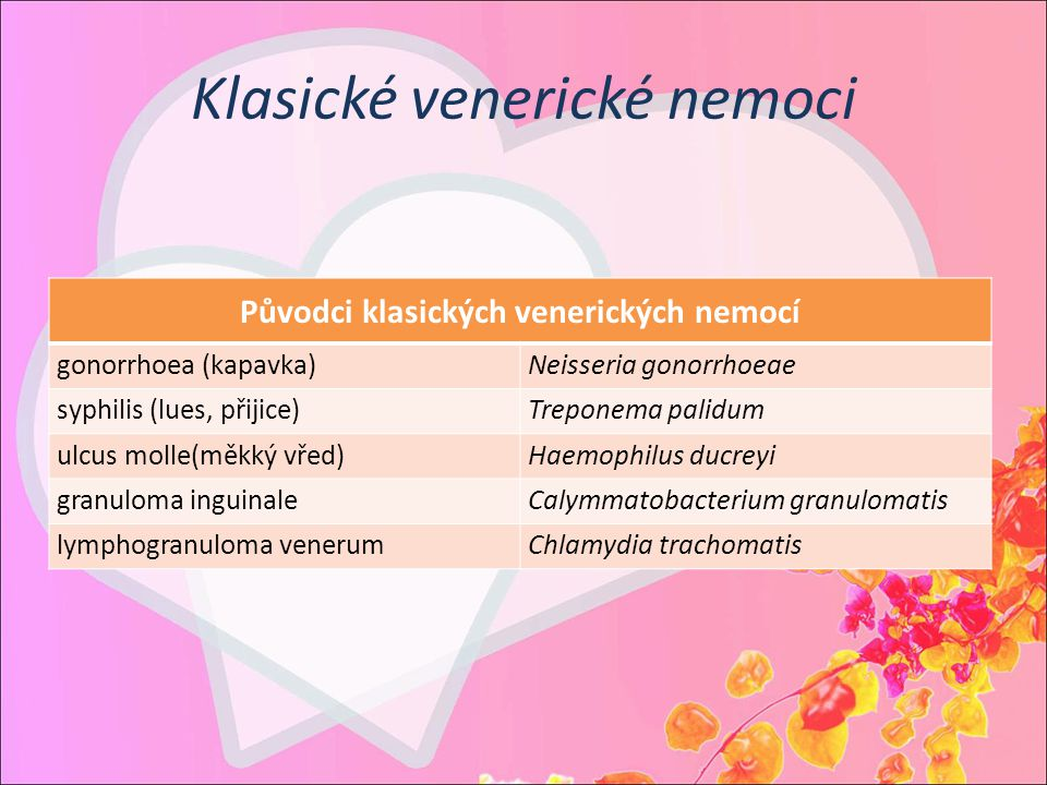 Klasické venerické nemoci Původci klasických venerických nemocí gonorrhoea (kapavka)Neisseria gonorrhoeae syphilis (lues, přijice)Treponema palidum ul
