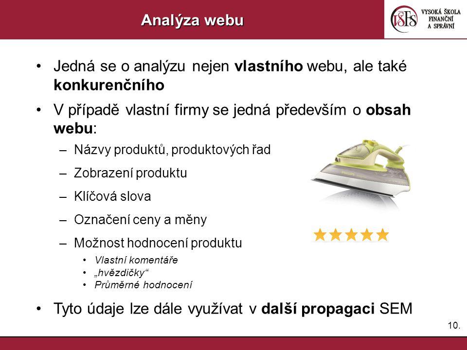 10. Analýza webu Jedná se o analýzu nejen vlastního webu, ale také konkurenčního V případě vlastní firmy se jedná především o obsah webu: –Názvy produ
