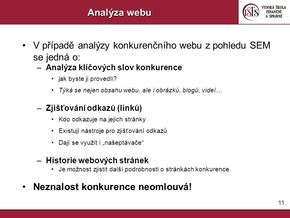 12. Analýza webu