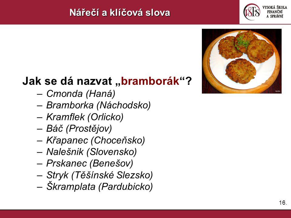 """16.Nářečí a klíčová slova Jak se dá nazvat """"bramborák ."""
