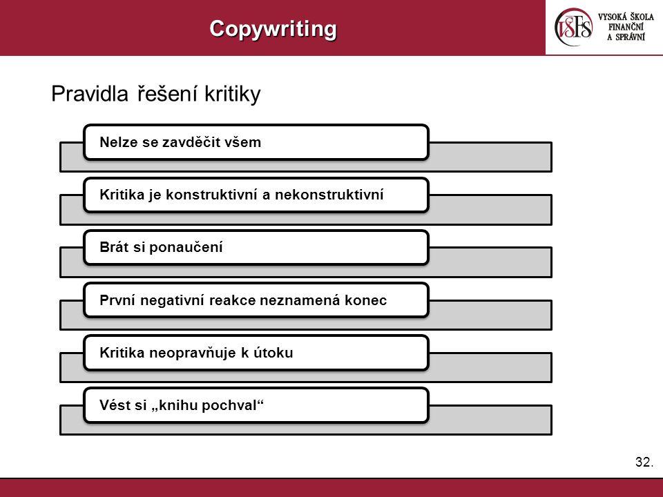 32.Copywriting Pravidla řešení kritiky Nelze se zavděčit všemKritika je konstruktivní a nekonstruktivníBrát si ponaučeníPrvní negativní reakce nezname