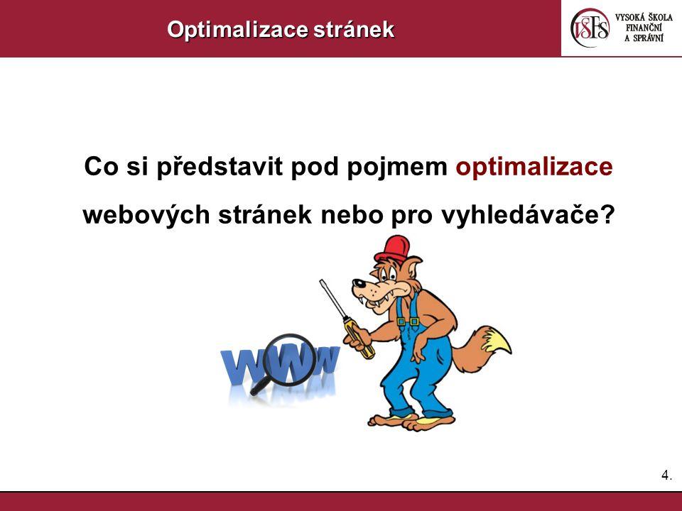 4.4. Optimalizace stránek Co si představit pod pojmem optimalizace webových stránek nebo pro vyhledávače?