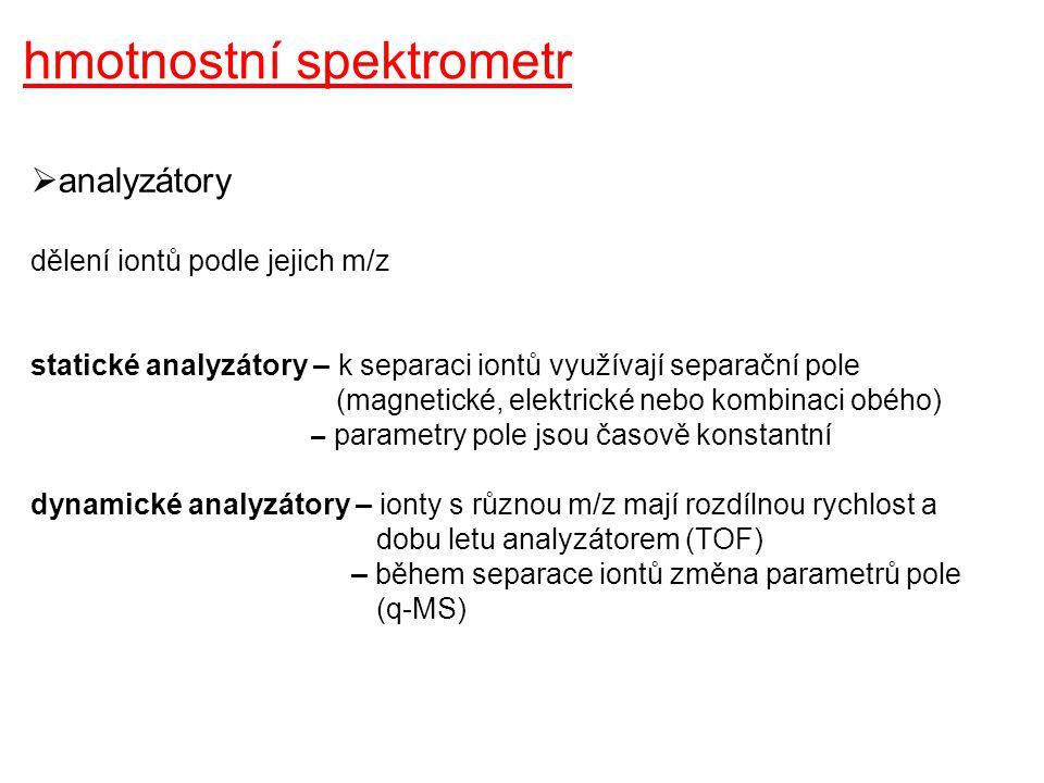 hmotnostní spektrometr  dynamické analyzátory kvadrupólový filtr time of flight (TOF)
