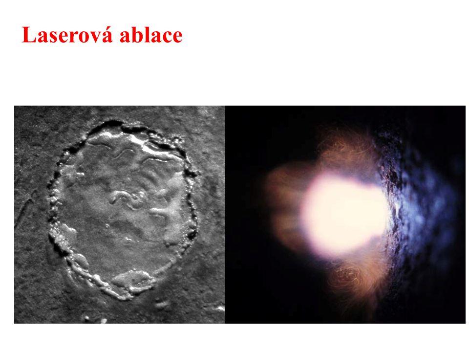  vznik mikroplazmatu – teplota až 15000 K – excitace a ionizace částic => zdroj záření (metoda LIBS)  tvorba částic – uvolnění atomů, iontů a fragmentů částic z povrchu – odnos tohoto materiálu do sekundárního ionizačního zdroje => ICP-MS/OES  vznik kráteru  vzorkovací metoda pro LIBS a LA-ICP (vodivé i nevodivé materiály) Laserová ablace