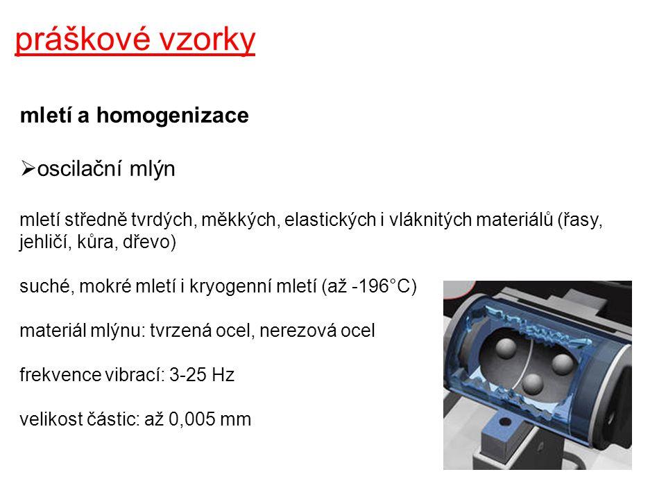 práškové vzorky mletí a homogenizace  hmoždířový mlýn mletí měkkých až středně tvrdých materiálů (drogy, farmaceutika, půdy, popel, potrava, soli …) suché i mokré mletí materiál mlýnu: WC, ZrO 2, achát, slinovaný Al 2 O 3 rychlost otáček: 100 min -1 velikost částic: < 0,010 mm