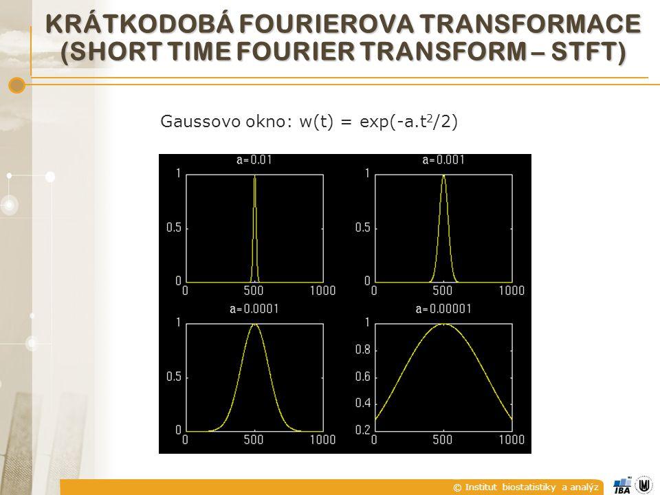 © Institut biostatistiky a analýz KRÁTKODOBÁ FOURIEROVA TRANSFORMACE (SHORT TIME FOURIER TRANSFORM – STFT) Gaussovo okno: w(t) = exp(-a.t 2 /2)
