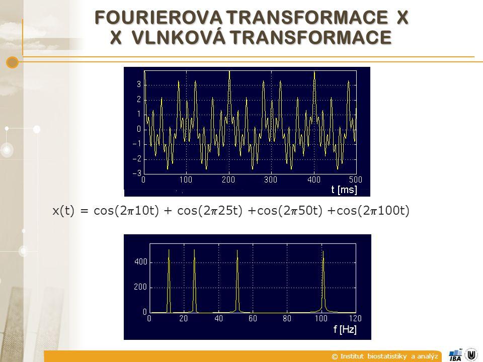© Institut biostatistiky a analýz FOURIEROVA TRANSFORMACE X X VLNKOVÁ TRANSFORMACE x(t) = cos(210t) + cos(225t) +cos(250t) +cos(2100t)
