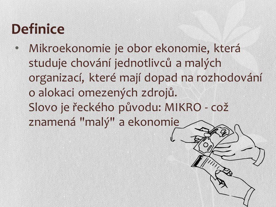 Definice Mikroekonomie je obor ekonomie, která studuje chování jednotlivců a malých organizací, které mají dopad na rozhodování o alokaci omezených zd