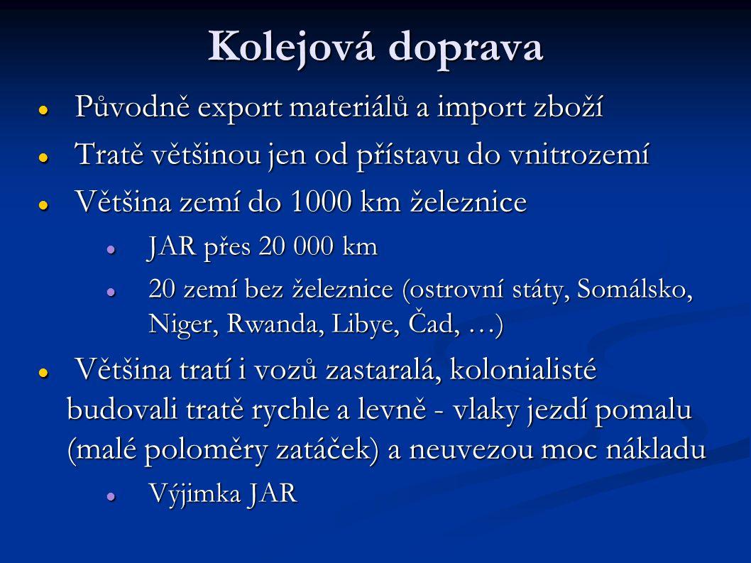 Kolejová doprava Původně export materiálů a import zboží Původně export materiálů a import zboží Tratě většinou jen od přístavu do vnitrozemí Tratě většinou jen od přístavu do vnitrozemí Většina zemí do 1000 km železnice Většina zemí do 1000 km železnice JAR přes 20 000 km JAR přes 20 000 km 20 zemí bez železnice (ostrovní státy, Somálsko, Niger, Rwanda, Libye, Čad, …) 20 zemí bez železnice (ostrovní státy, Somálsko, Niger, Rwanda, Libye, Čad, …) Většina tratí i vozů zastaralá, kolonialisté budovali tratě rychle a levně - vlaky jezdí pomalu (malé poloměry zatáček) a neuvezou moc nákladu Většina tratí i vozů zastaralá, kolonialisté budovali tratě rychle a levně - vlaky jezdí pomalu (malé poloměry zatáček) a neuvezou moc nákladu Výjimka JAR Výjimka JAR