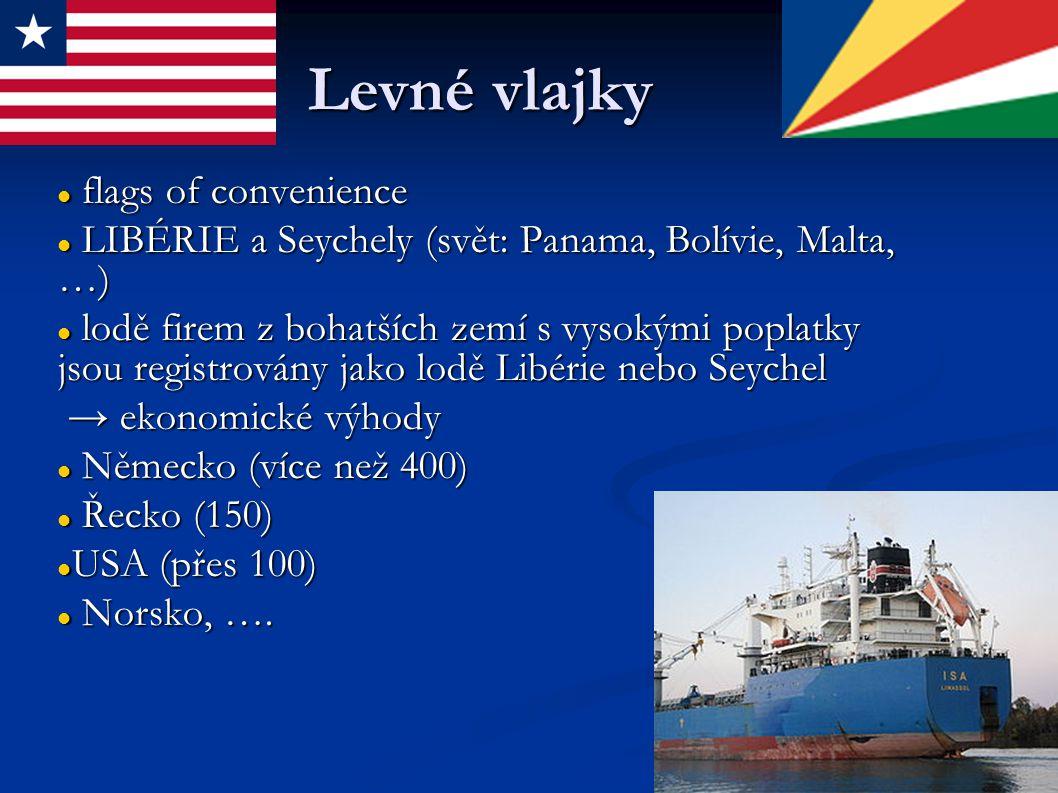 Levné vlajky flags of convenience flags of convenience LIBÉRIE a Seychely (svět: Panama, Bolívie, Malta, …) LIBÉRIE a Seychely (svět: Panama, Bolívie, Malta, …) lodě firem z bohatších zemí s vysokými poplatky jsou registrovány jako lodě Libérie nebo Seychel lodě firem z bohatších zemí s vysokými poplatky jsou registrovány jako lodě Libérie nebo Seychel → ekonomické výhody → ekonomické výhody Německo (více než 400) Německo (více než 400) Řecko (150) Řecko (150) USA (přes 100) USA (přes 100) Norsko, ….