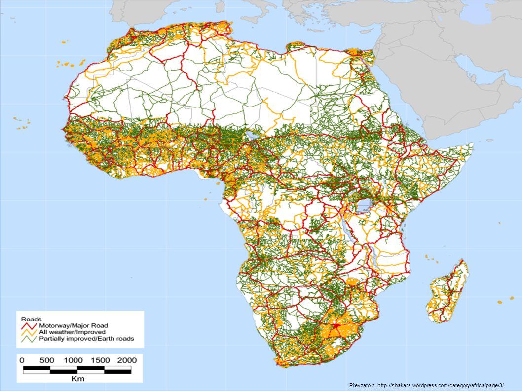 Pozemní doprava Trans-Africká dálnice Trans-Africká dálnice 56 683 km 56 683 km Koridory směny zboží – obchodní trasy Koridory směny zboží – obchodní trasy Více než polovina zpevněna, problém s údržbou Více než polovina zpevněna, problém s údržbou Některé úseky neprůjezdné při záplavách nebo písečných bouřích, jiné neexistují (tzv.