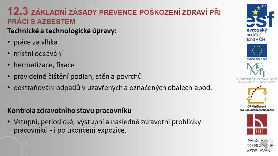 12.3 ZÁKLADNÍ ZÁSADY PREVENCE POŠKOZENÍ ZDRAVÍ PŘI PRÁCI S AZBESTEM Základní krok v prevenci byl učiněn zákazem používání azbestu s výjimkou prací asa