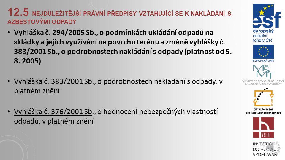 12.5 NEJDŮLEŽITĚJŠÍ PRÁVNÍ PŘEDPISY VZTAHUJÍCÍ SE K NAKLÁDÁNÍ S AZBESTOVÝMI ODPADY Zákon č. 50/1976 Sb., o územním plánování a stavebním řádu (stavebn