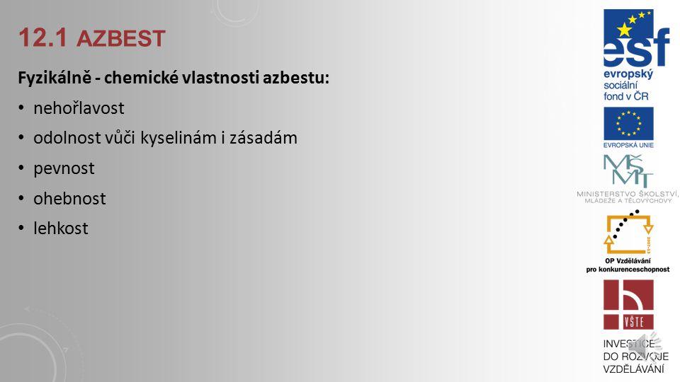 12.1 AZBEST Azbest je označení pro přirozeně vzniklé vláknité křemičité minerály. Rozdělují se do dvou skupin: serpentiny a amfiboly. Tyto vlákna mají
