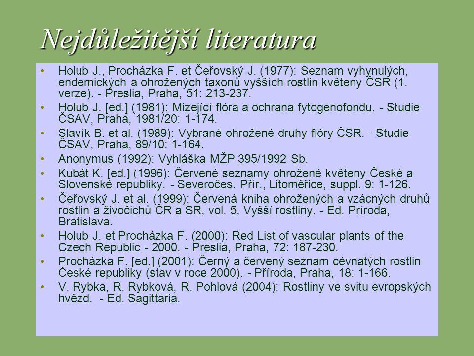 Nejdůležitější literatura Holub J., Procházka F.et Čeřovský J.