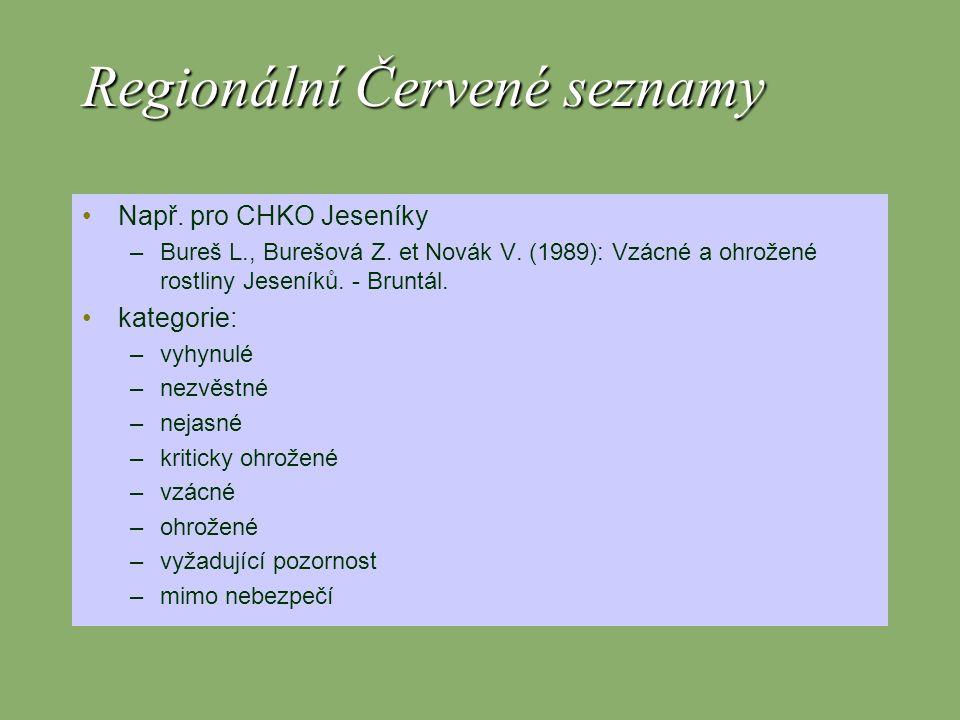 Regionální Červené seznamy Např. pro CHKO Jeseníky –Bureš L., Burešová Z. et Novák V. (1989): Vzácné a ohrožené rostliny Jeseníků. - Bruntál. kategori