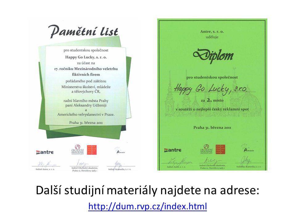 Další studijní materiály najdete na adrese: http://dum.rvp.cz/index.html