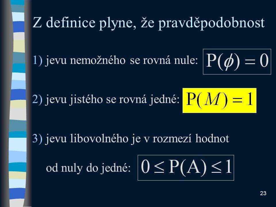 2)jevu jistého se rovná jedné: 1)jevu nemožného se rovná nule: Z definice plyne, že pravděpodobnost 3)jevu libovolného je v rozmezí hodnot od nuly do jedné: 23