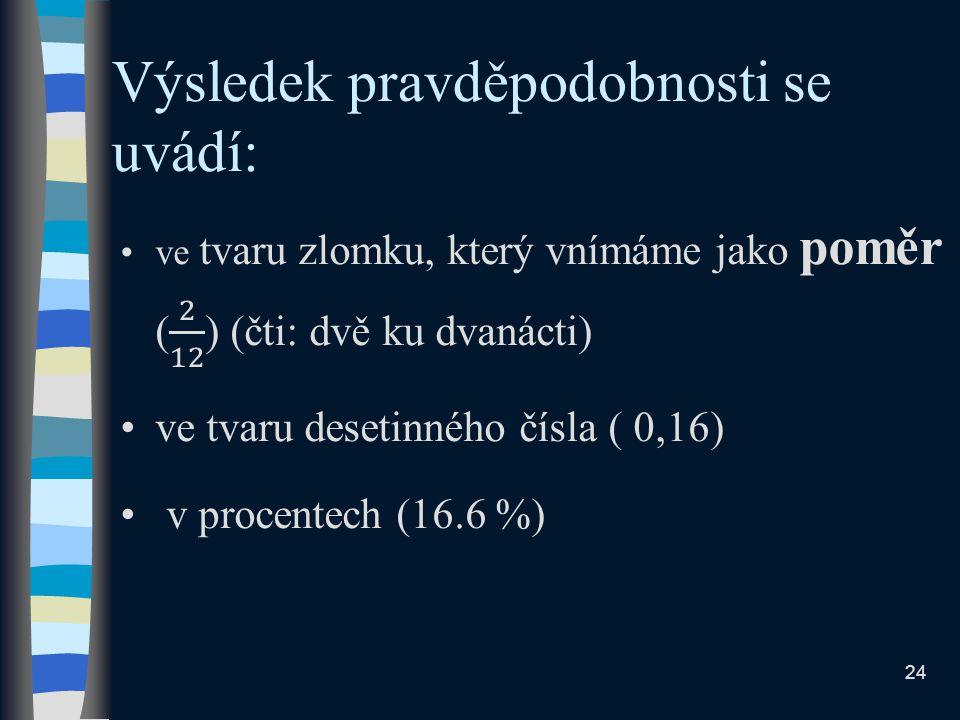 Výsledek pravděpodobnosti se uvádí: 24