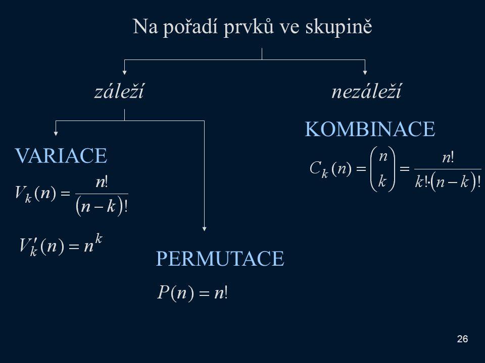 Na pořadí prvků ve skupině záležínezáleží KOMBINACE VARIACE PERMUTACE 26