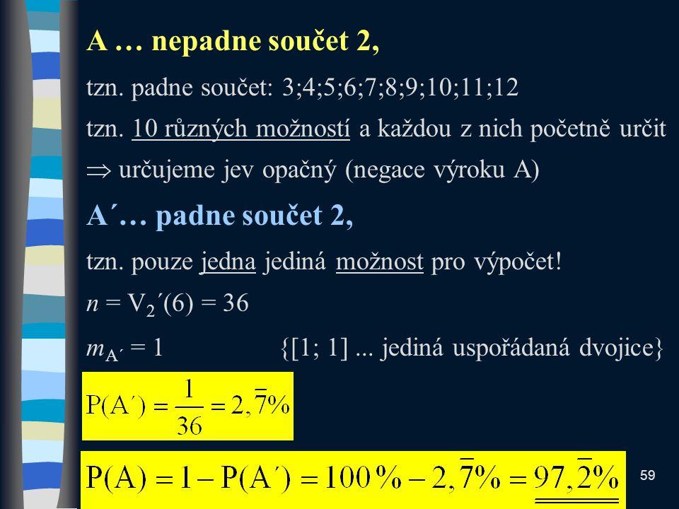 A … nepadne součet 2, tzn. padne součet: 3;4;5;6;7;8;9;10;11;12 tzn.