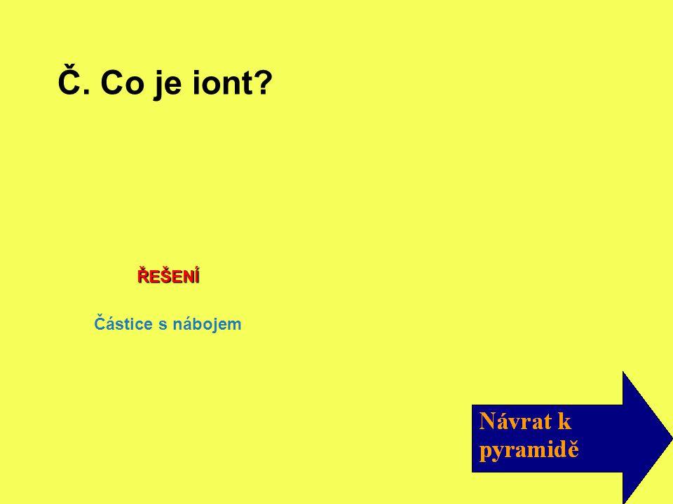 ŘEŠENÍ Částice s nábojem Č. Co je iont?
