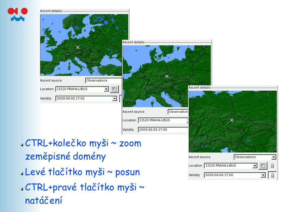 CTRL+kolečko myši ~ zoom zeměpisné domény Levé tlačítko myši ~ posun CTRL+pravé tlačítko myši ~ natáčení
