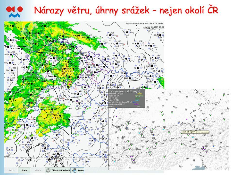 Nárazy větru, úhrny srážek – nejen okolí ČR