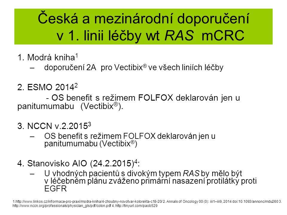 Česká a mezinárodní doporučení v 1. linii léčby wt RAS mCRC 1. Modrá kniha 1 –doporučení 2A pro Vectibix ® ve všech liniích léčby 2. ESMO 2014 2 - OS