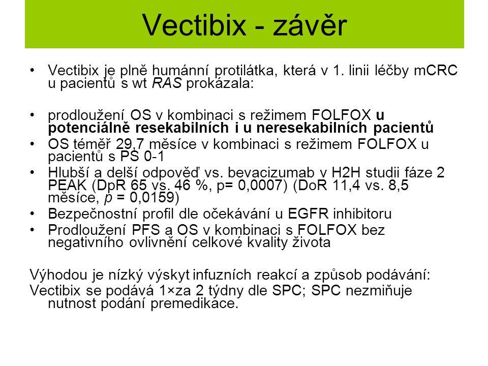 Vectibix - závěr Vectibix je plně humánní protilátka, která v 1. linii léčby mCRC u pacientů s wt RAS prokázala: prodloužení OS v kombinaci s režimem