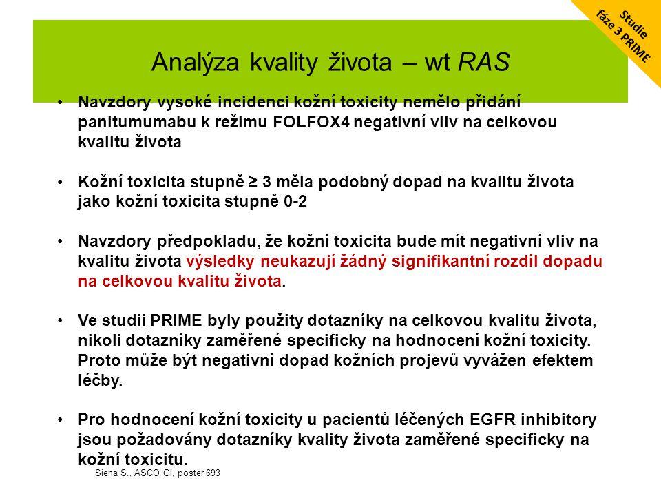 Klinická kazuistika 10/2013-dosud: Vectibix Q2W v plné dávce, dosud dle PET/CT kompletní radiologická remise trvá 2014 - vyloučena mutace v dalších KRAS a NRAS kodonech (wt RAS) na léčbě nyní 25 měsíců s dobrou tolerancí, kožní toxicita G2, ošetřováno ve spolupráci s kožní klinikou