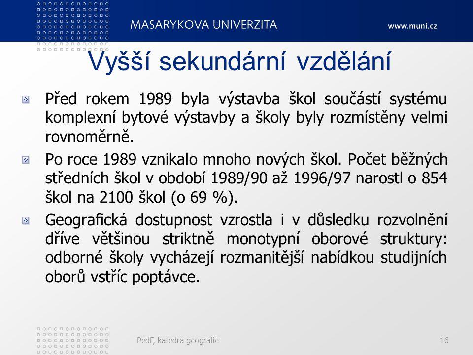 Vyšší sekundární vzdělání Před rokem 1989 byla výstavba škol součástí systému komplexní bytové výstavby a školy byly rozmístěny velmi rovnoměrně.
