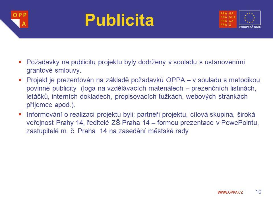 WWW.OPPA.CZ Publicita  Požadavky na publicitu projektu byly dodrženy v souladu s ustanoveními grantové smlouvy.