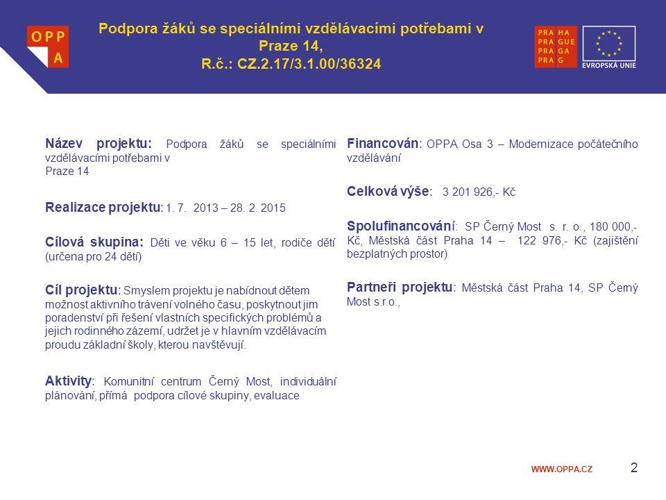 WWW.OPPA.CZ Podpora žáků se speciálními vzdělávacími potřebami v Praze 14, R.č.: CZ.2.17/3.1.00/36324 Název projektu: Podpora žáků se speciálními vzdělávacími potřebami v Praze 14 Realizace projektu: 1.