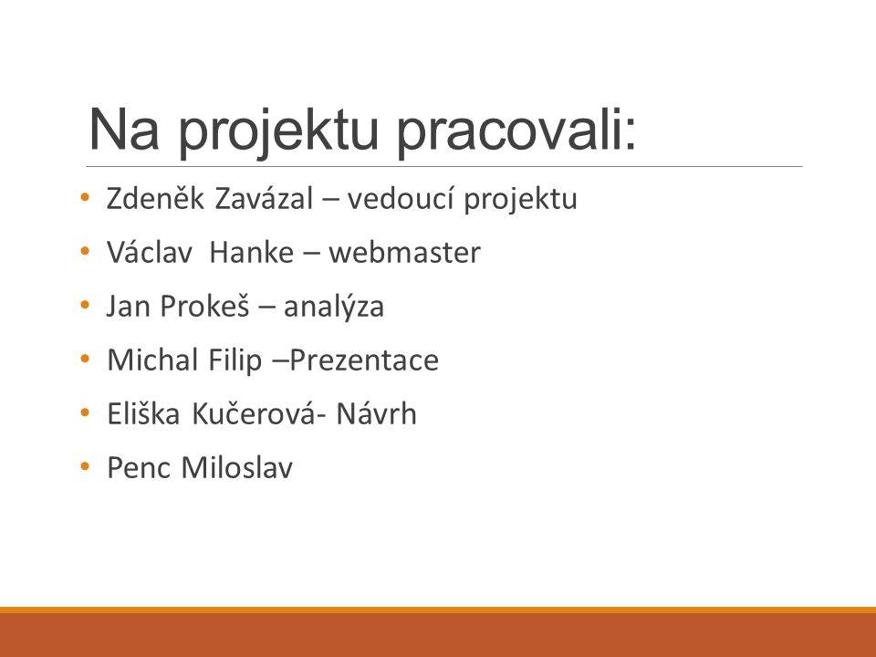 Na projektu pracovali: Zdeněk Zavázal – vedoucí projektu Václav Hanke – webmaster Jan Prokeš – analýza Michal Filip –Prezentace Eliška Kučerová- Návrh Penc Miloslav