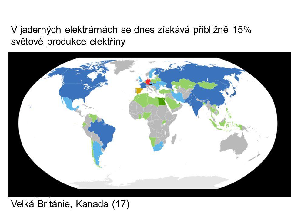 V jaderných elektrárnách se dnes získává přibližně 15% světové produkce elektřiny Francie (asi 78 %) Litva (asi 72 %) Slovensko (asi 57 %) Česko (asi 32%) – 13.