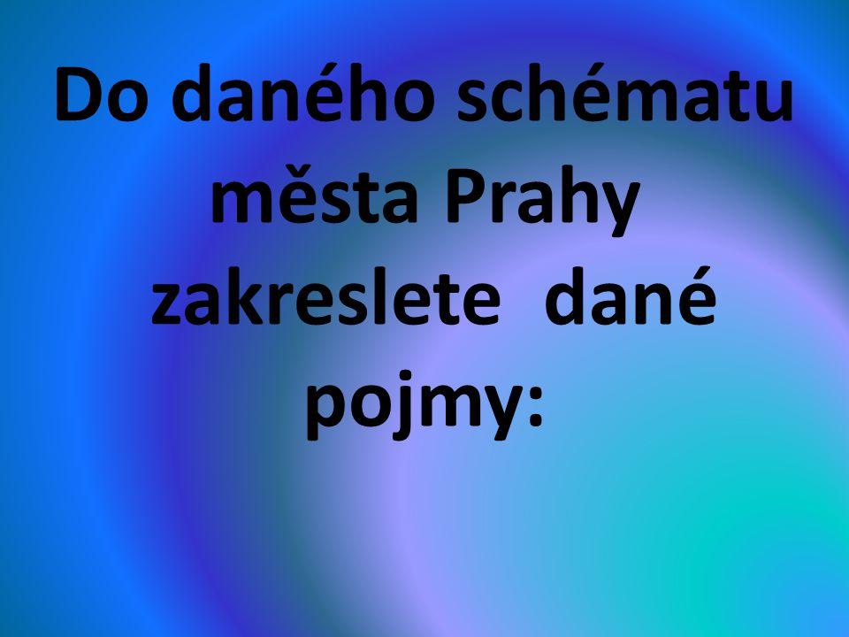Do daného schématu města Prahy zakreslete dané pojmy: